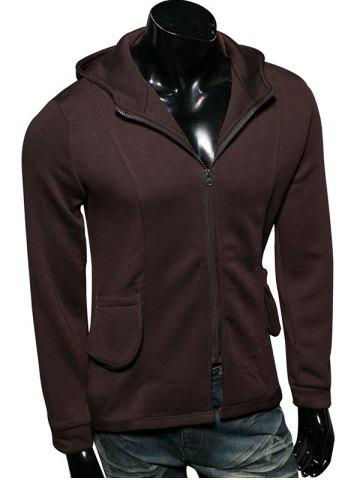 Outfits Zip Up Pocket Embellished Long Sleeve Hoodie COFFEE 2XL
