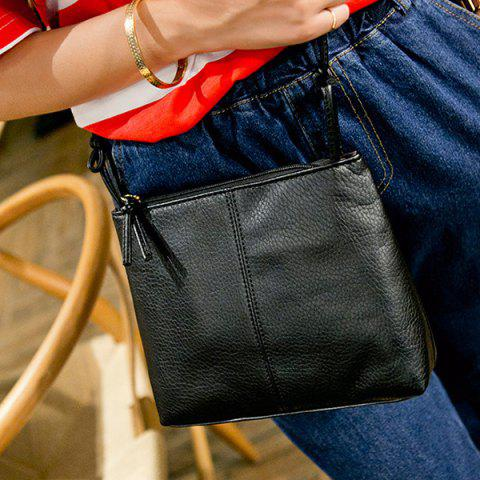 Trendy Simple Style Solid Colour and PU Leather Design Crossbody For Women BLACK