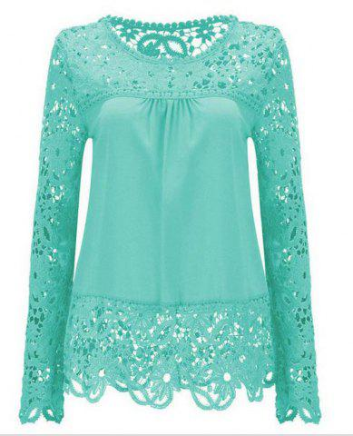 Buy Solid Color Lace Spliced Hollow Out Blouse LIGHT BLUE M