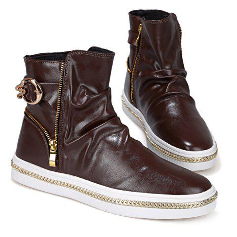 Cheap Casual Metal and Zip Closure Design Boots For Men - 41 COFFEE Mobile