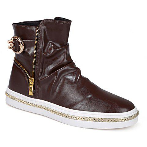 Store Casual Metal and Zip Closure Design Boots For Men COFFEE 42