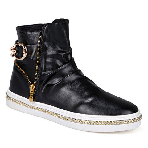 Shops Casual Metal and Zip Closure Design Boots For Men BLACK 44