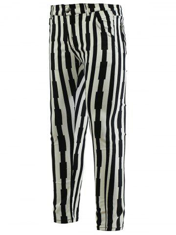 Shops Striped Zipper Fly Skinny Tapered Pants For Men
