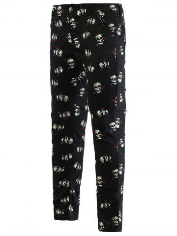 Cheap Rose Skull Print Zipper Fly Skinny Tapered Pants For Men