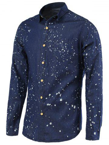 Shop Splash-Ink Turn-Down Collar Long Sleeve Denim Shirt For Men