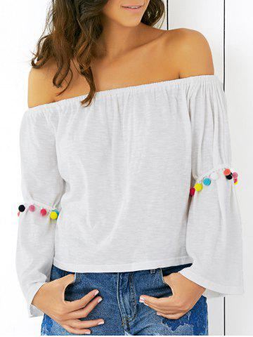 Unique Off The Shoulder Flare Sleeve White T-Shirt WHITE XL