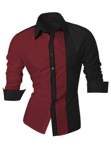 Fancy Color Block Splicing Design Turn-Down Collar Long Sleeve Shirt For Men DARK RED 2XL