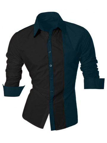 Color Block Splicing Design Turn-Down Collar Long Sleeve Shirt For Men - Black And Green - M