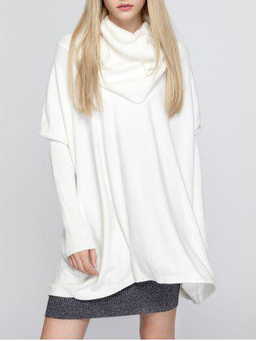 Online Oversized Turtleneck Tunic Long Sweater WHITE ONE SIZE