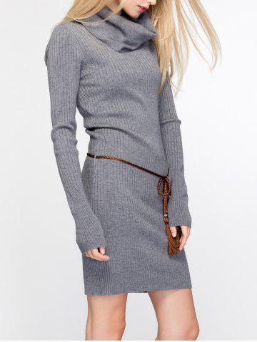 Shop Cowl Neck Fitted Sweater Dress - ONE SIZE DEEP GRAY Mobile