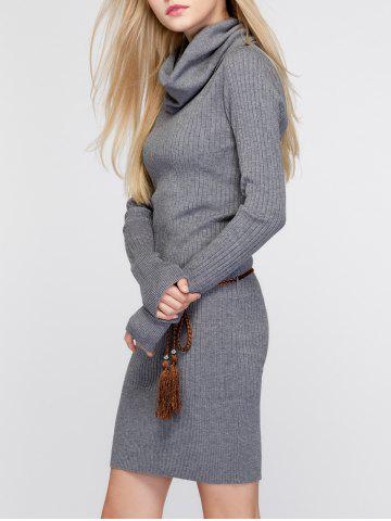 Store Cowl Neck Fitted Sweater Dress - ONE SIZE DEEP GRAY Mobile
