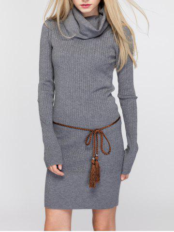 New Cowl Neck Fitted Sweater Dress - ONE SIZE DEEP GRAY Mobile