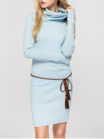 Outfits Cowl Neck Fitted Sweater Dress - ONE SIZE LIGHT BLUE Mobile