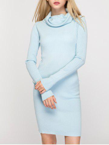 New Cowl Neck Fitted Sweater Dress - ONE SIZE LIGHT BLUE Mobile