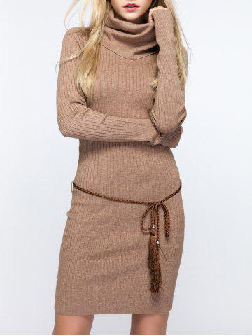 Light Brown One Size Cowl Neck Fitted Sweater Dress | RoseGal.com