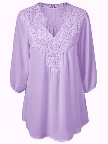 Hot Plus Size Sweet Crochet Spliced Tunic Blouse - PURPLE 5XL Mobile