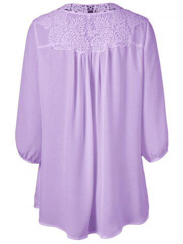 Outfit Plus Size Sweet Crochet Spliced Tunic Blouse - PURPLE XL Mobile