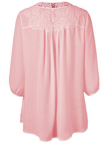 Hot Plus Size Sweet Crochet Spliced Tunic Blouse - PINK L Mobile