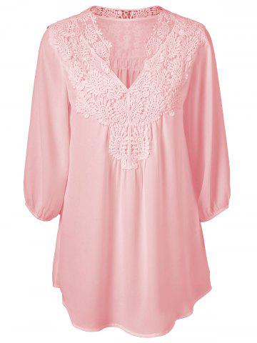 Shop Plus Size Sweet Crochet Spliced Tunic Blouse - PINK L Mobile