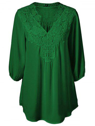 Best Plus Size Sweet Crochet Spliced Tunic Blouse - DEEP GREEN L Mobile