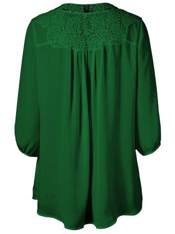 Cheap Plus Size Sweet Crochet Spliced Tunic Blouse - DEEP GREEN L Mobile