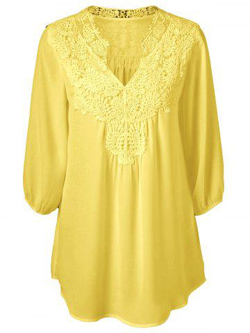 Affordable Plus Size Sweet Crochet Spliced Tunic Blouse - YELLOW 3XL Mobile