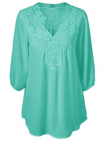 Chic Plus Size Sweet Crochet Spliced Tunic Blouse - GREEN 3XL Mobile