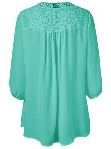 Trendy Plus Size Sweet Crochet Spliced Tunic Blouse - GREEN 3XL Mobile