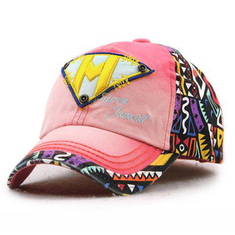 Stylish Letter M and Inverted Triangle Embroidery Doodle Pattern Baseball Hat For Kids - Pink - 137*70cn-m