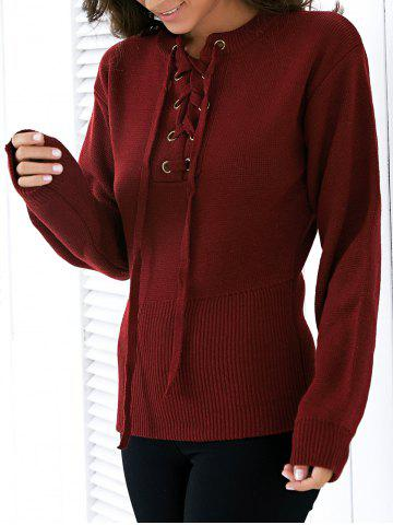 Fashion Round Neck Long Sleeve Solid Color Lace Up Sweater For Women - Wine Red - One Size