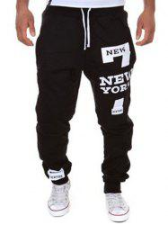 Slimming Trendy Lace-Up Letter Number Print Beam Feet Polyester Men's Sweatpants - BLACK