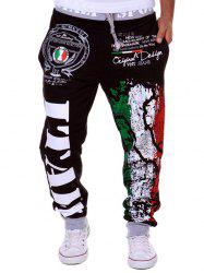 Loose Fit Stylish Lace-Up Italy National Emblem Print Beam Feet Men's Polyester Sweatpants -