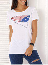 Chic Short Sleeve Star Print Women's T-Shirt -