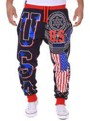 USA Print Beam Feet Lace-Up American Flag Sweatpants - CADETBLUE