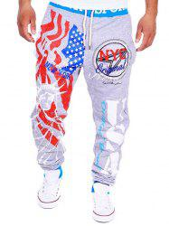 Beam Feet American Flag Statue of Liberty Letters Print Hit Color Lace-Up Men's Loose Fit Sweatpants -