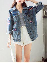 Trendy Applique Loose Fitting Jacket For Women -