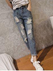 Casual High Waist Ripped Denim Cuffed Pants -