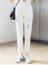 Chic Broken Hole Solid Color Pants For Women -