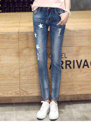 Trendy Star Print Ripped Denim Pants For Women -