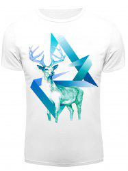 3D Starry Sky Geometric Deer Print Round Neck Short Sleeve T-Shirt For Men