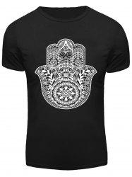 Geometric Floral and Eye Print Round Neck Short Sleeve T-Shirt For Men -
