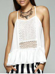Strappy Ruffle Tank Top - CRYSTAL CREAM S