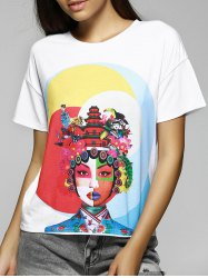 Simple Design Loose-Fitting Scoop Neck Face Print T-Shirt For Women -