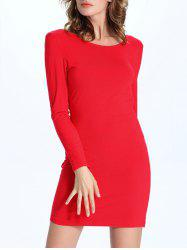 Draped Back Long Sleeve Bodycon Dress -
