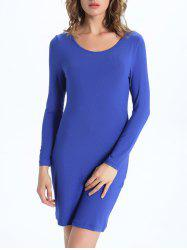 Draped Back Long Sleeve Bodycon Dress