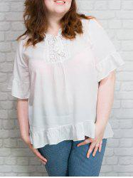 Lace-Up Ruffled Lace Spliced Blouse -