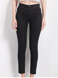 Slimming High Waist Black Pencil Pants - BLACK