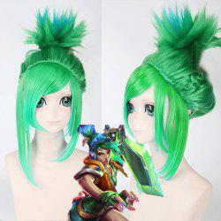 League of Legends LOL	Arcade Riven Fluffy Blue Highlight Straight Cosplay Wig - GREEN