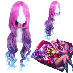 League of Legends LOL Arcade Miss Fortune Fluffy Wavy Multicolor Ombre longue perruque cosplay - Multicolore