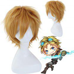 League of Legends LOL	Ezreal Fluffy Straight Flaxen Short Synthetic Cosplay Wig